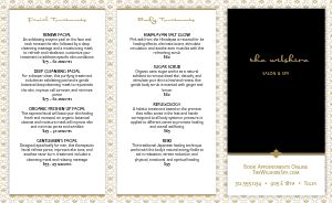 Salon Services Trifold Menu