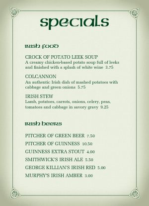 Corner Pub Irish Specials Menu