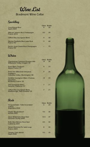Cafe Wine List