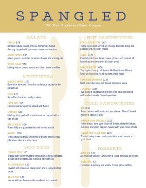 Gold American Family Menu