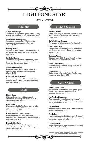 Delmonico Steakhouse Menu