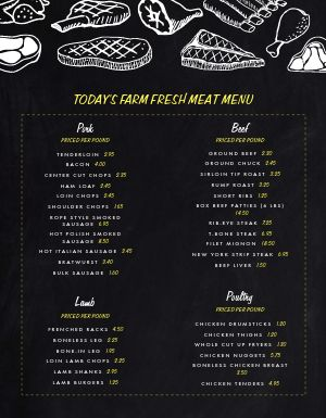Meat Farmers Market Menu