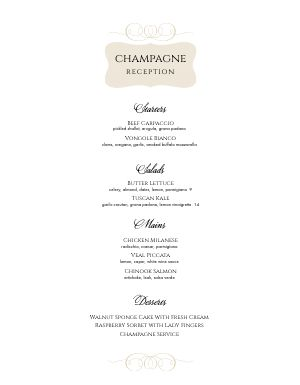 Champagne Dinner Menu