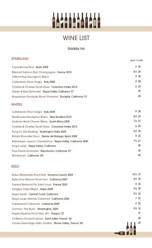 Wine List Template