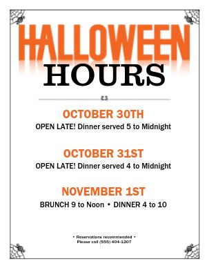 Halloween Hours Flyer