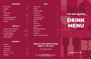 Bar Drinks Folded Menu