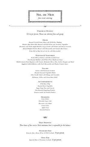 Catered Dinner Restaurant Menu