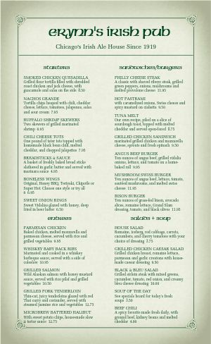 Corner Pub Irish Menu