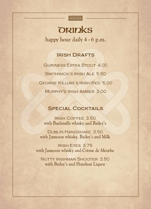 Irish Tavern Specials Menu