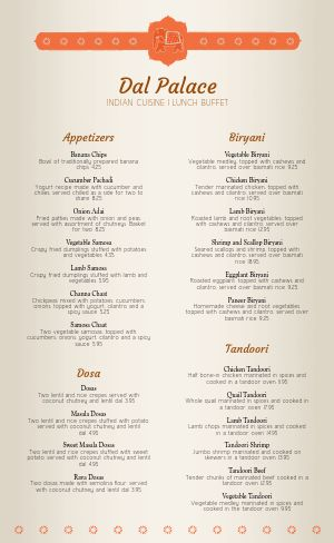 Indian Spice Menu
