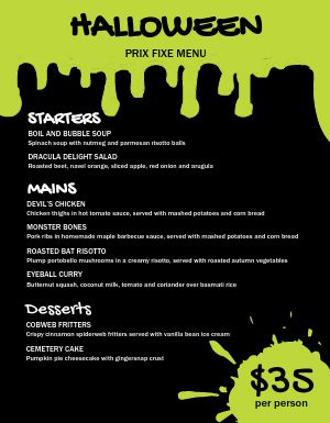 Halloween Specials Menu