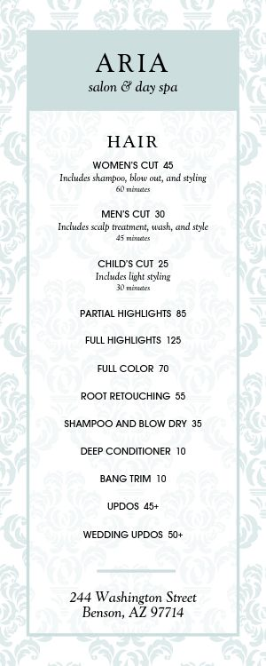 Beauty Salon Menu