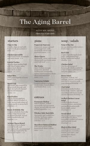 Winery Menu