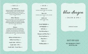 Spa Beauty Trifold Menu