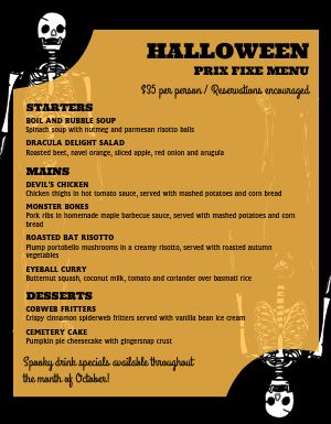 Halloween Skeleton Menu