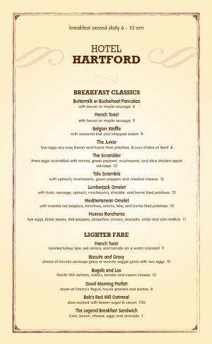 Hotel Breakfast Menu