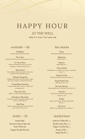 Cocktail Hour Menu