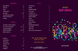 Late Night Bar Folded Menu