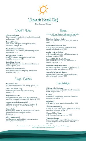 Beach Club Menu