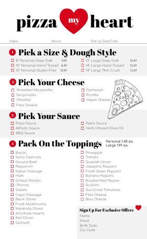 Build Your Own Pizza Menu