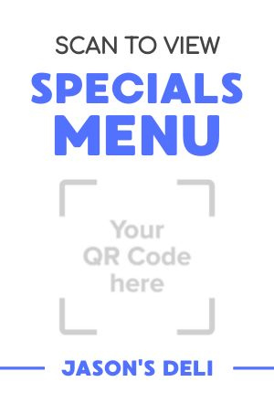 Specials Menu Table Tent