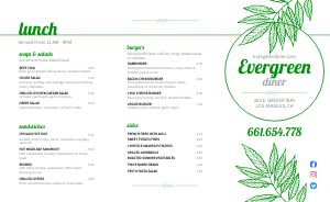 Evergreen Diner Takeout Menu