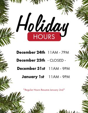Holiday Hours Restaurant Flyer