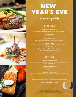 New Years Special Dinner Menu