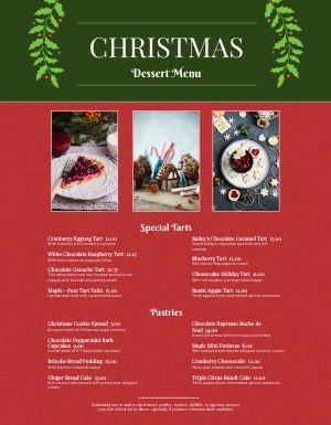 Christmas Festive Dessert Menu