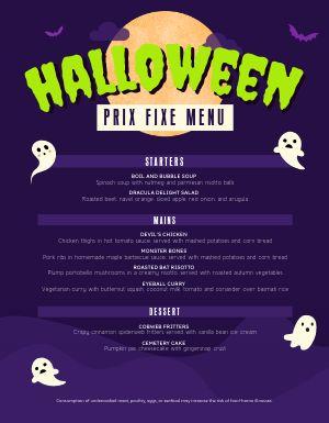 Prix Fixe Halloween Menu
