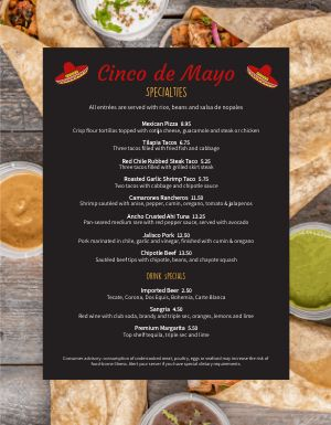 Cinco de Mayo Tacos Menu