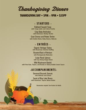 Thanksgiving Dinner Homestyle Menu