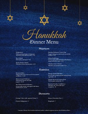 Blue Hanukkah Menu