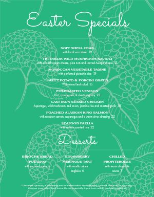 Blue Easter Menu
