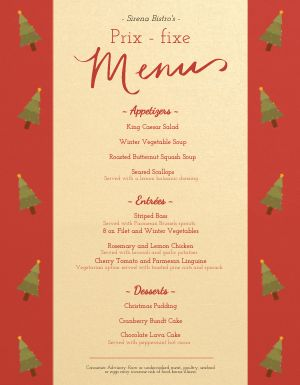 Desert Christmas Menu