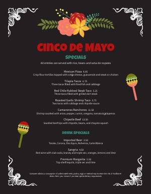 Cinco De Mayo Specialties Menu
