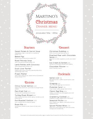 Christmas Specialty Menu