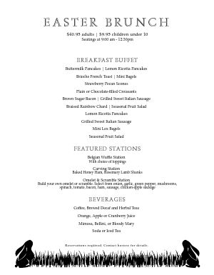 Easter Bunnies Menu
