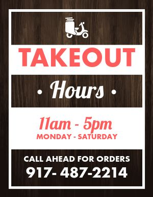 Takeout Hours Sign