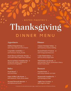 Autumnal Thanksgiving Menu