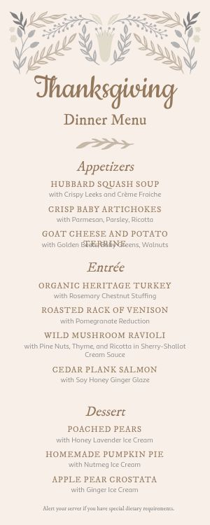 Thanksgiving Half Page Menu