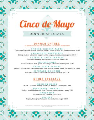 Customizable Cinco De Mayo Menu