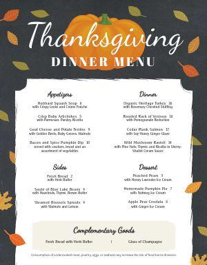 Chalkboard Thanksgiving Menu