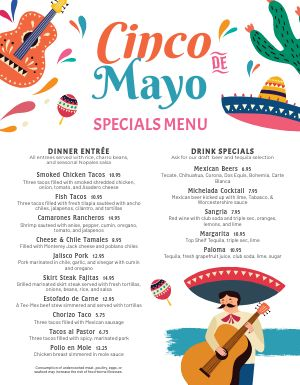 Cinco De Mayo Specialty Menu