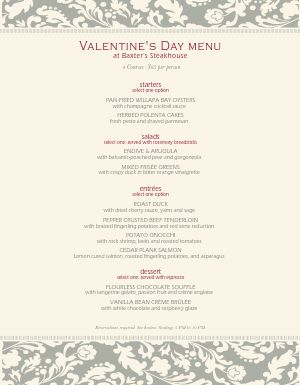 Formal Valentines Menu