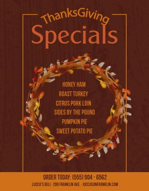 Thanksgiving Specials Flyer