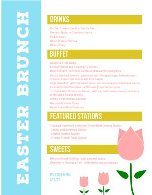 Easter Tulip Menu