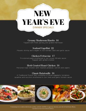 New Years Dishes Menu