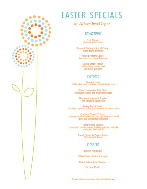 Restaurant Easter Menu