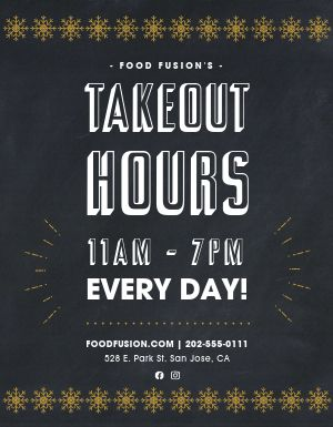Winter Takeout Hours Sign